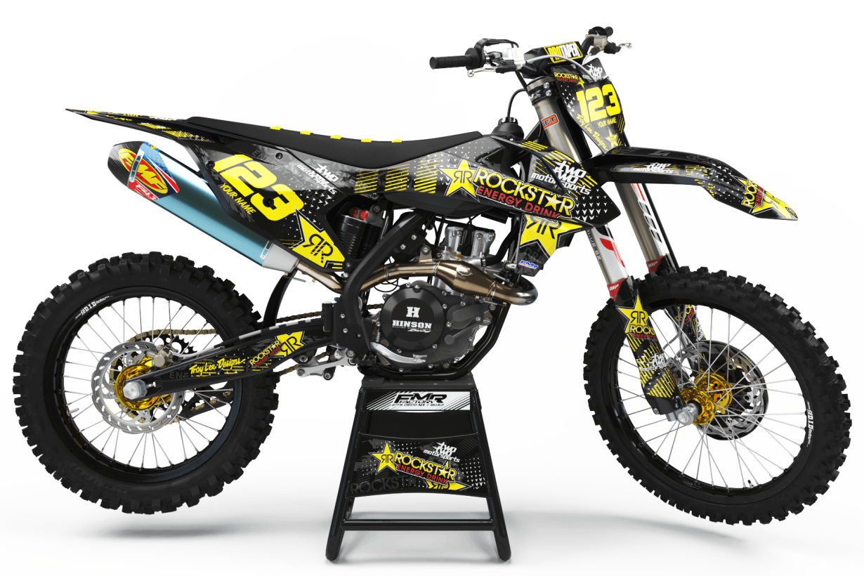 Graphics Kit ROCKSTAR ENERGY YELLOW : Give a new youth to your bike